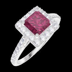 Ring Create 170344 Weißgold 375/-(9Kt) - Rubin Prinzess 0.5 Karat - Halo Diamant - Fassung Diamant