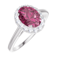Ring Create 170436 White gold 9 carats - Ruby Oval 0.5 Carats - Halo Diamond white