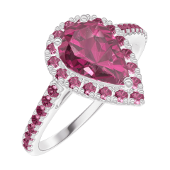 Ring Create 170508 White gold 9 carats - Ruby Pear 0.5 Carats - Halo Ruby - Setting Ruby