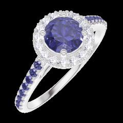 Ring Create 170592 Weißgold 375/-(9Kt) - Blauer Saphir Rund 0.5 Karat - Halo Diamant - Fassung Blauer Saphir