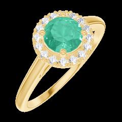 Ring Create 170866 Yellow gold 9 carats - Emerald Round 0.5 Carats - Halo Diamond white