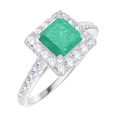 Ring Create 170920 White gold 9 carats - Emerald Princess 0.5 Carats - Halo Diamond white - Setting Diamond white