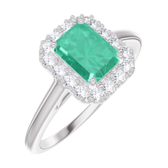 Ring Create 170964 White gold 9 carats - Emerald Baguette 0.5 Carats - Halo Diamond white