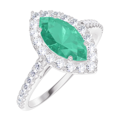 Ring Create 171112 White gold 9 carats - Emerald Marquise 0.5 Carats - Halo Diamond white - Setting Diamond white