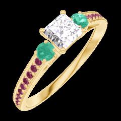Ring Create 180190 Yellow gold 9 carats - Laboratory Diamond Princess 0.3 Carats - Ring settings Emerald - Setting Ruby
