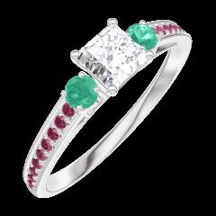 Ring Create 180192 White gold 9 carats - Laboratory Diamond Princess 0.3 Carats - Ring settings Emerald - Setting Ruby