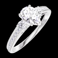 Ring Create 182828 Weißgold 375/-(9Kt) - Labordiamant Tropfen 0.5 Karat - Seitliche Steine Diamant - Fassung Diamant