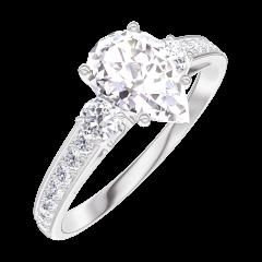 Ring Create 185228 Weißgold 375/-(9Kt) - Labordiamant Tropfen 0.7 Karat - Seitliche Steine Diamant - Fassung Diamant