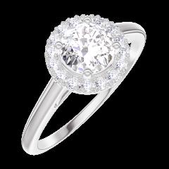 Ring Create 190004 Weißgold 375/-(9Kt) - Labordiamant Rund 0.5 Karat - Halo Diamant