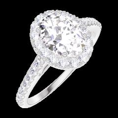 Ring Create 190152 Weißgold 375/-(9Kt) - Labordiamant Oval 0.5 Karat - Halo Diamant - Fassung Diamant