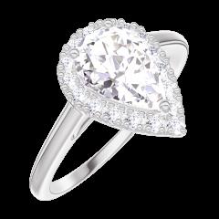 Ring Create 190196 Weißgold 375/-(9Kt) - Labordiamant Tropfen 0.5 Karat - Halo Diamant