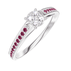Ring Create 209611 White gold 18 carats - Cluster of natural diamonds round equivalent 0.5 - Setting Ruby
