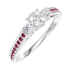 Ring Create 209631 White gold 18 carats - Cluster of natural diamonds round equivalent 0.5 - Ring settings Diamond white - Setting Ruby