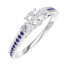 Ring Create 209635 White gold 18 carats - Cluster of natural diamonds round equivalent 0.5 - Ring settings Diamond white - Setting Blue Sapphire