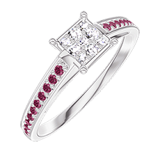 Ring Create 209711 White gold 18 carats - Cluster of natural diamonds Princess equivalent 0.5 - Setting Ruby