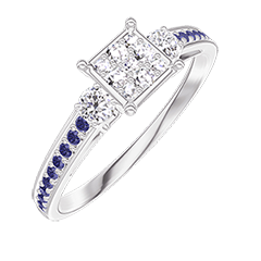 Ring Create 209735 White gold 18 carats - Cluster of natural diamonds Princess equivalent 0.5 - Ring settings Diamond white - Setting Blue Sapphire