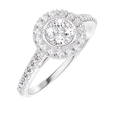 Ring Create 211407 White gold 18 carats - Cluster of natural diamonds round equivalent 0.5 - Halo Diamond white - Setting Diamond white