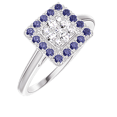 Ring Create 211483 White gold 18 carats - Cluster of natural diamonds Princess equivalent 0.5 - Halo Blue Sapphire