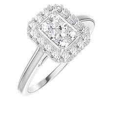 Ring Create 211499 White gold 18 carats - Cluster of natural diamonds Baguette equivalent 0.5 - Halo Diamond white