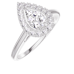 Ring Create 211595 White gold 18 carats - Cluster of natural diamonds Pear equivalent 0.5 - Halo Diamond white