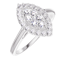 Ring Create 211643 White gold 18 carats - Cluster of natural diamonds Marquise equivalent 0.5 - Halo Diamond white