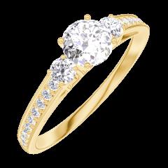 Ring Create Engagement 160025 Geel goud 18 karaat - Diamant Rond 0.3 Karaat - Aanleunende edelstenen Diamant - Setting Diamant