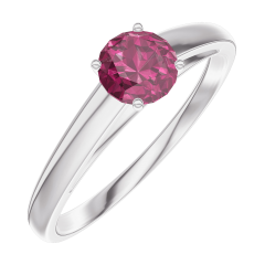 Ring Create Engagement 160604 Wit goud 9 karaat - Robijn Rond 0.3 Karaat