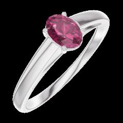 Ring Create Engagement 160904 Wit goud 9 karaat - Robijn Ovaal 0.3 Karaat