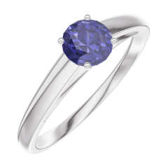 Ring Create Engagement 161204 Wit goud 9 karaat - Blauwe saffier Rond 0.3 Karaat