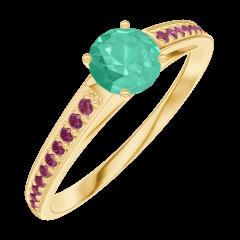 Ring Create Engagement 161809 Geel goud 18 karaat - Smaragd Rond 0.3 Karaat - Setting Robijn