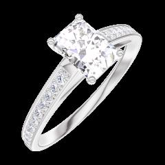 Ring Create Engagement 162607 Wit goud 18 karaat - Natuurlijke diamant Rechthoekig 0.5 Karaat - Setting Natuurlijke diamant