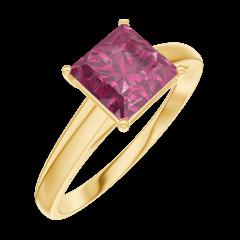 Ring Create Engagement 167902 Geel goud 9 karaat - Robijn Prinses 1 Karaat