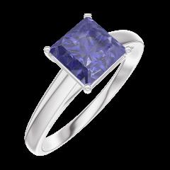 Ring Create Engagement 168504 Wit goud 9 karaat - Blauwe saffier Prinses 1 Karaat