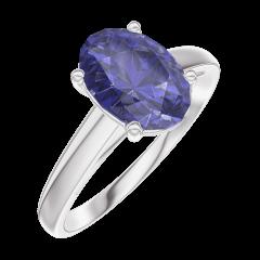 Ring Create Engagement 168704 Wit goud 9 karaat - Blauwe saffier Ovaal 1 Karaat