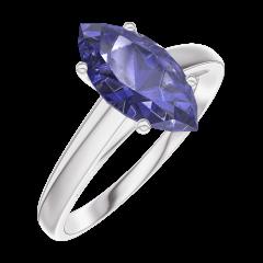 Ring Create Engagement 168904 Wit goud 9 karaat - Blauwe saffier Markies 1 Karaat