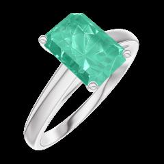 Ring Create Engagement 169204 Wit goud 9 karaat - Smaragd Rechthoekig 1 Karaat