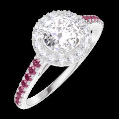 Ring Create Engagement 170011 Wit goud 18 karaat - Diamant Rond 0.5 Karaat - Halo Diamant - Setting Robijn