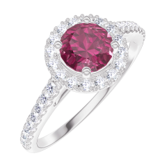 Ring Create Engagement 170296 Wit goud 9 karaat - Robijn Rond 0.5 Karaat - Halo Natuurlijke diamant - Setting Natuurlijke diamant
