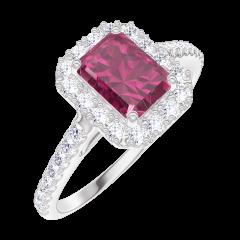 Ring Create Engagement 170392 Wit goud 9 karaat - Robijn Rechthoekig 0.5 Karaat - Halo Natuurlijke diamant - Setting Natuurlijke diamant