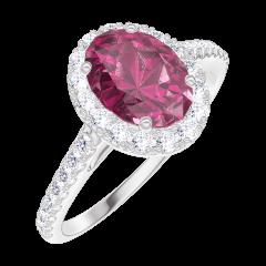 Ring Create Engagement 170439 Wit goud 18 karaat - Robijn Ovaal 0.5 Karaat - Halo Natuurlijke diamant - Setting Natuurlijke diamant