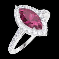 Ring Create Engagement 170536 Wit goud 9 karaat - Robijn Markies 0.5 Karaat - Halo Diamant - Setting Diamant
