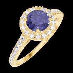 Ring Create Engagement 170582 Geel goud 9 karaat - Blauwe saffier Rond 0.5 Karaat - Halo Natuurlijke diamant - Setting Natuurlijke diamant