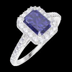 Ring Create Engagement 170680 Wit goud 9 karaat - Blauwe saffier Rechthoekig 0.5 Karaat - Halo Natuurlijke diamant - Setting Natuurlijke diamant