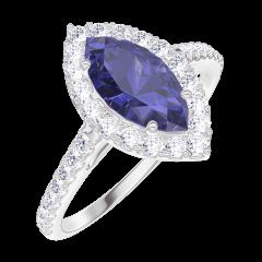 Ring Create Engagement 170824 Wit goud 9 karaat - Blauwe saffier Markies 0.5 Karaat - Halo Natuurlijke diamant - Setting Natuurlijke diamant
