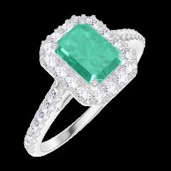 Ring Create Engagement 170968 Wit goud 9 karaat - Smaragd Rechthoekig 0.5 Karaat - Halo Natuurlijke diamant - Setting Natuurlijke diamant