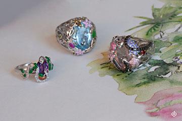 Ring Imaginary Walk - Blue Paradise - Silver, diamonds and fine stones