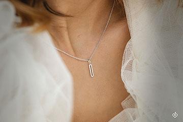 Cartouche pavée Necklace - 9K White Gold and Diamonds