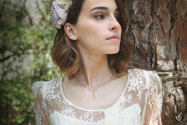 Collar largo Jardín Encantado - Follaje Real - oro rosa 9 quilates y diamantes