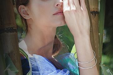 Bracelet Jonc Jungle Sacrée - diamants - or blanc 9 carats