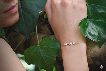 Bracelet Enchanted Garden - Foliage Royal - Yellow gold and diamonds - 9 carat